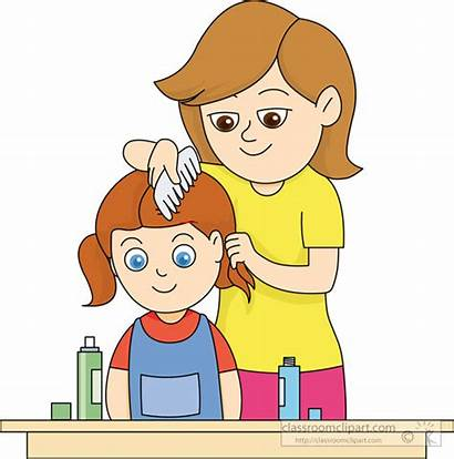 Hair Comb Clipart Combing Mother Daughters Brush