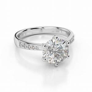 D vvs1 engagement ring 2 carat round cut 14k white gold for 2 carat wedding rings