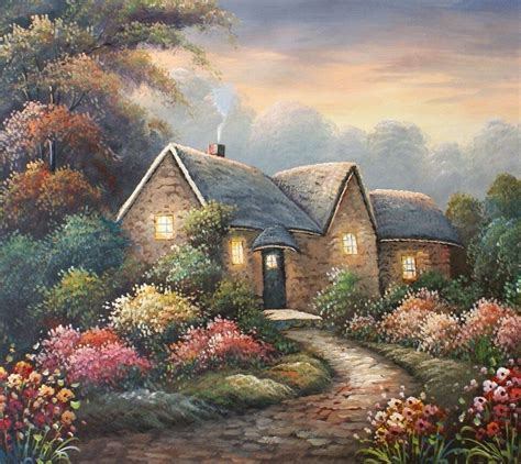 The Cottage Painting by Country Cottage Glow 20 X 24 Original Painting On