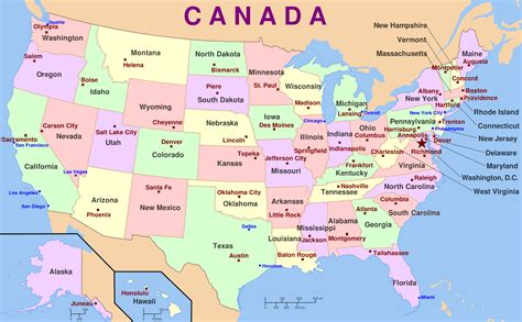 Map Of Usa With The States And Capital Cities