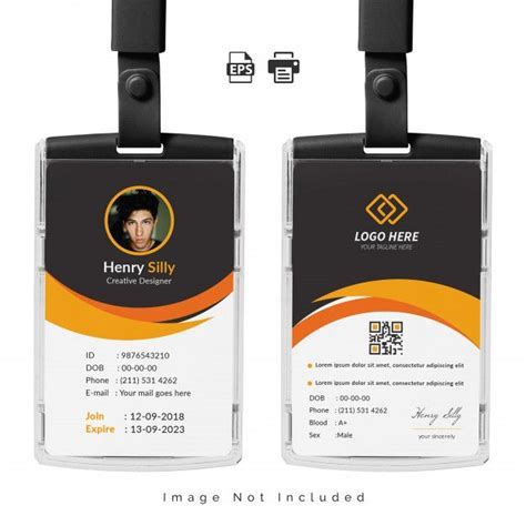 office id card template illustration