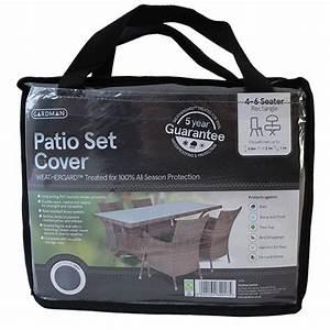 Gardman 4 6 str rectangular patio set cover premium range for Garden furniture covers gardman