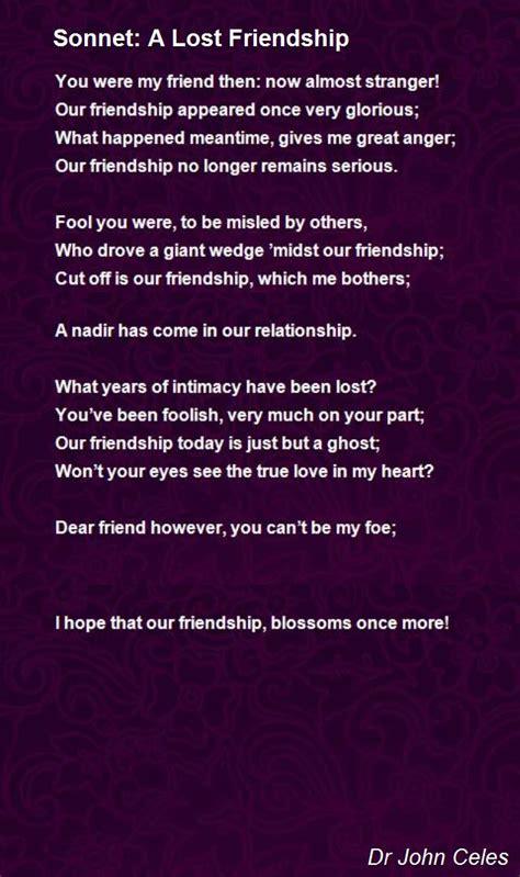 sonnet  lost friendship poem  dr acelestine raj