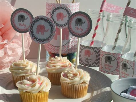 pink and gray elephant baby shower decorations unavailable listing on etsy