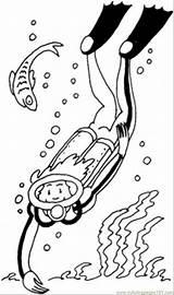 Diver Coloring Scuba Diving Gear Template Printable Colouring Coloringpages101 sketch template