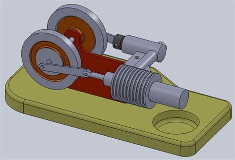 3d модель двигателя стирлинга вращайте маховик и он будет работать . двигатели . чертежи в масштабе.ру