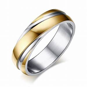 Meaeguet 6mm stainless steel wedding bands two tone for Two tone wedding rings for women