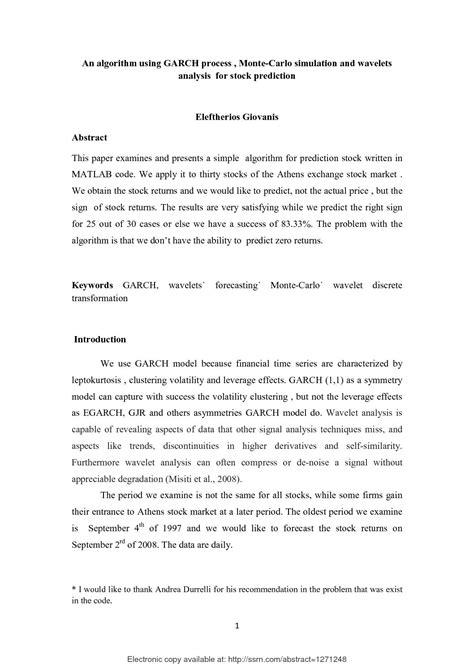 Calameo Algorithm Using Garch Process Monte Carlo