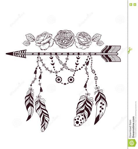 hand drawn boho style design  rose flower arrow