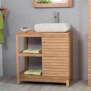 Meuble sous vasque (simple vasque) en bois (teck) massif : Courchevel, naturel, L : 80 cm