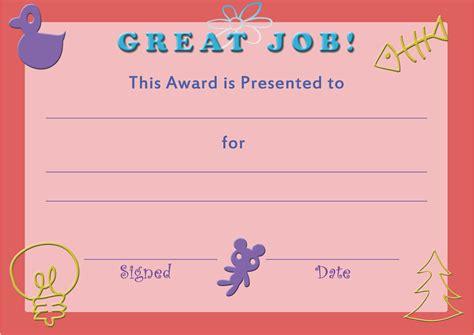 printable template certificate  achievement  kids