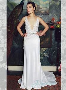 sexy plunging v neck illusion lace v back sheath wedding With plunge wedding dress