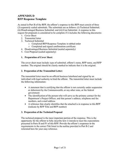 rfp response template response template one