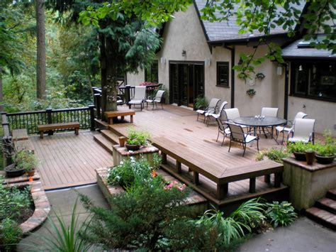 Backyard Deck Plans by Floor Extraordinary Style Of Ground Level Deck For