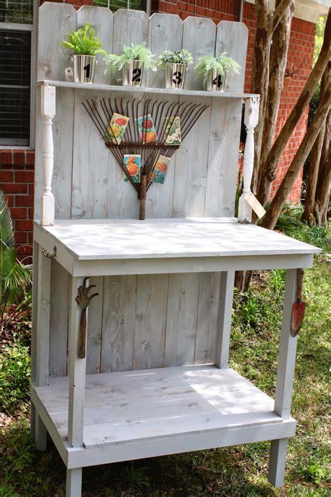 coastal charm diy potting bench