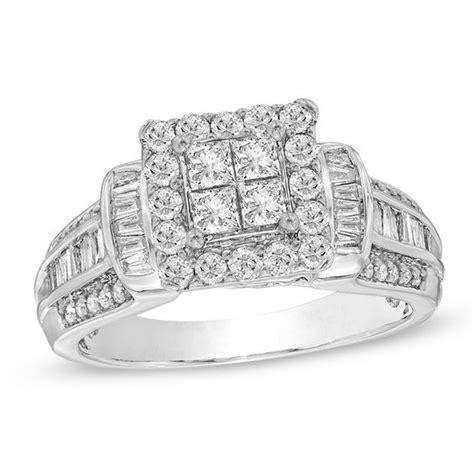 1 ct t w quad princess cut diamond frame engagement ring
