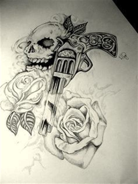 gun tattoo skull gun  roses tattoo design tats pinterest revolvers skull tattoo design
