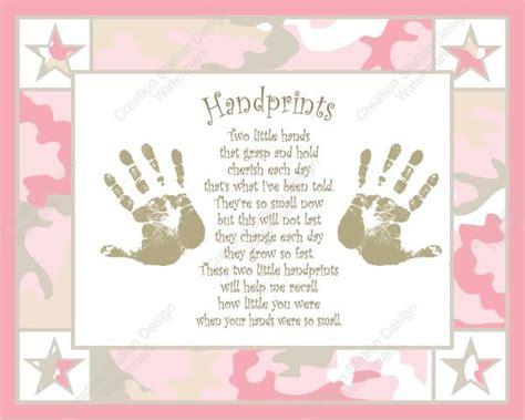 pink  khaki camo babys handprints  poem camo