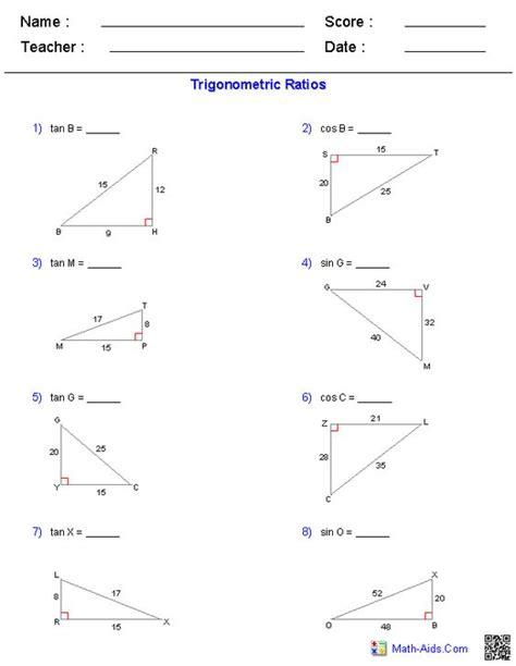 worksheet 8 7 trigonometric ratios word problems answers