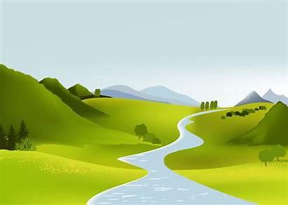 Vector Landscape Clipart Cartoon Mountain Natural Hills