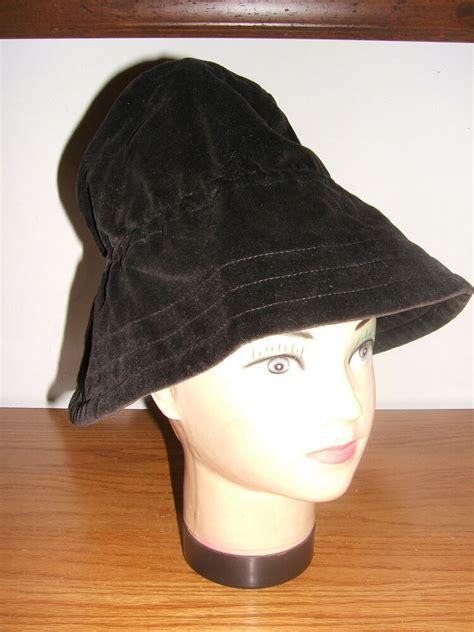 vintage ladies black velvet hat bonnet floppy wide brim