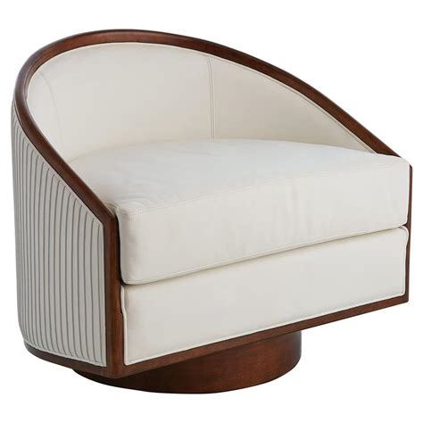 delance modern white leather upholstered walnut wood swivel living room chair