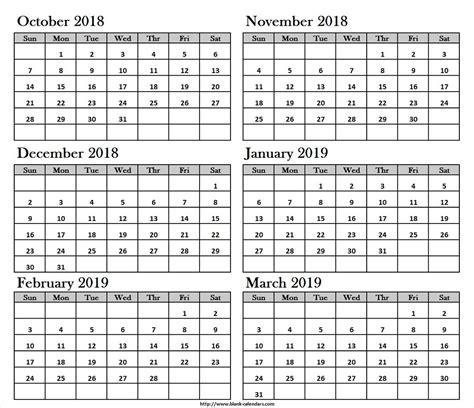 oct nov dec  jan feb mar  calendar printable