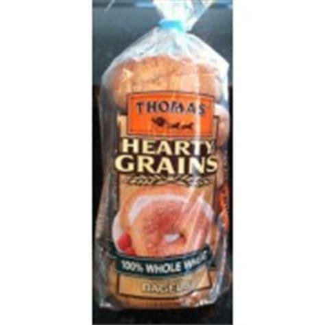 thomas hearty grains   wheat bagels calories