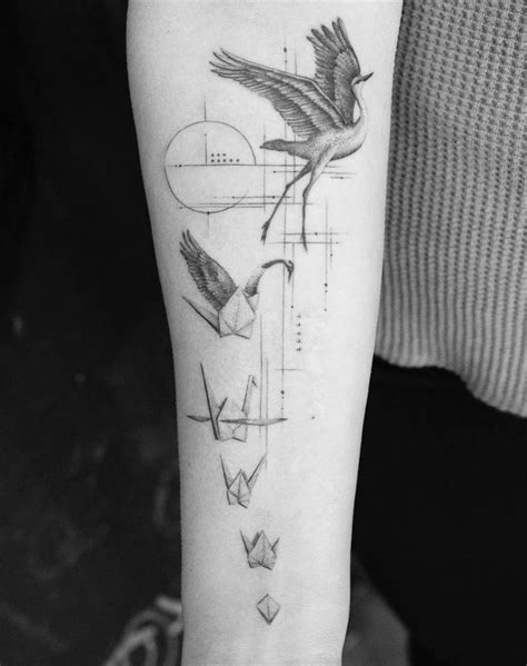 40 Stunning Black and Gray Tattoos | Crane tattoo, Origami tattoo, Tattoos