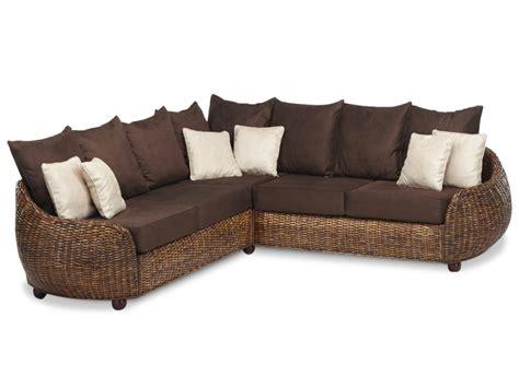 cdiscount canapé canapé d 39 angle symétrique agrigente en tissu et rotin