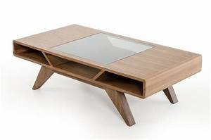 Modern walnut coffee table with tampered glass for Wood coffee table with glass insert