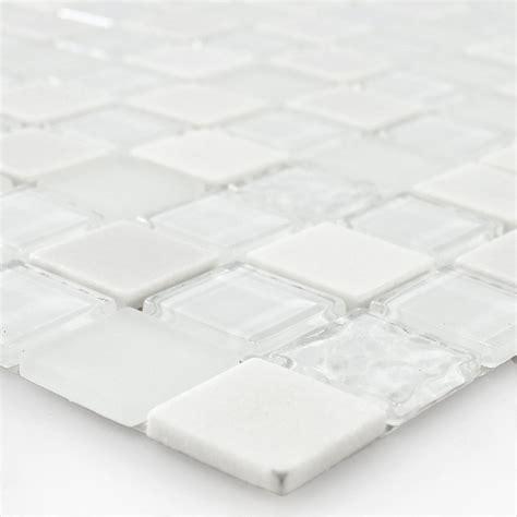self adhesive glass mosaic tiles white tm33433