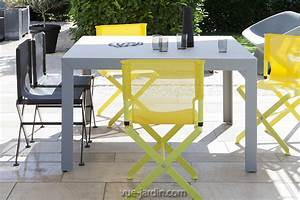 Table Jardin Design : grande table de jardin design carre 130x130cm zef de matire grise achat vente sur vue ~ Melissatoandfro.com Idées de Décoration