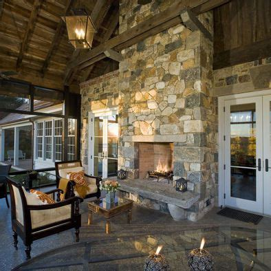 traditional double sided fireplace enjoyed  living room  patio outdoor fireplace