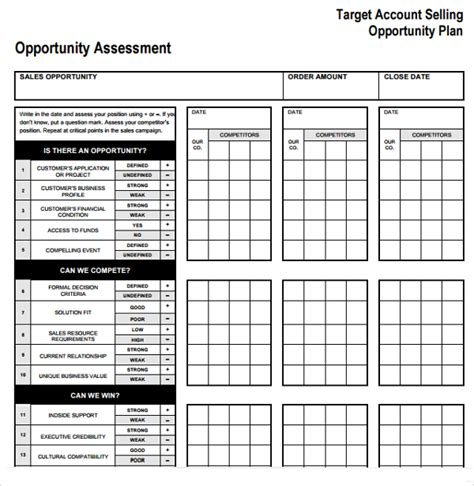 target account selling template sle account plan template 9 free documents in pdf word