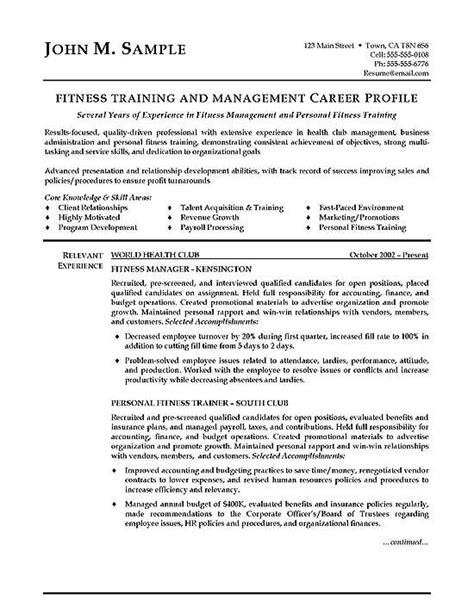 fitness trainer resume examples cover letter  resume