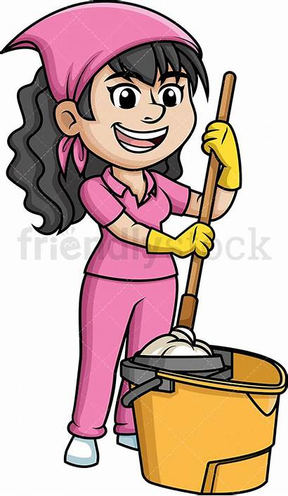 Mop Woman Cartoon Clipart Squeezing Mopping Clip