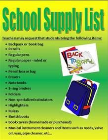 Middle School 6th Grade Supplies List