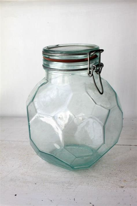Vintage Hermetic Green Glass Storage Jar   Glass storage