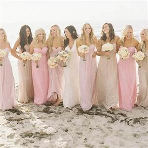 pink and nude bridesmaid dresses With nude color wedding dress