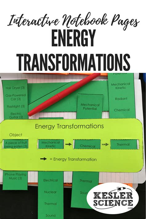 energy transformation game worksheet answer key kids
