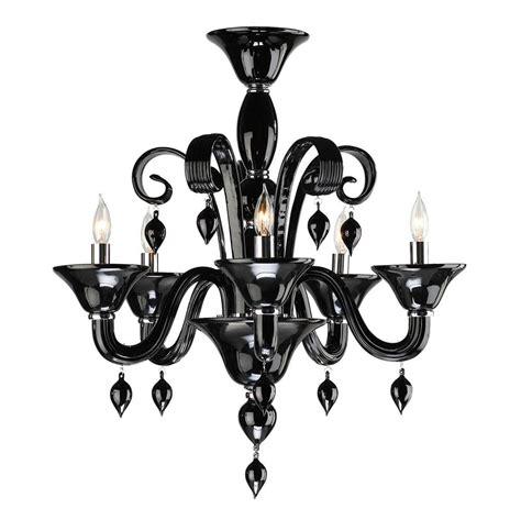 treviso contemporary black 5 light murano glass chandelier