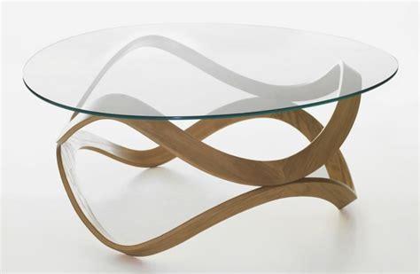 table basse ronde verre table basse en bois massif pas