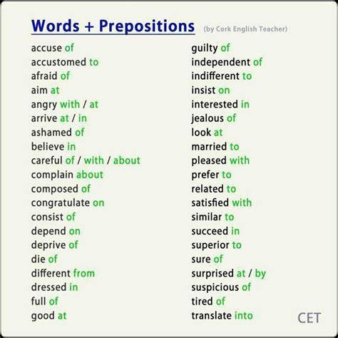 Words + Prepositions  Learn English  Learn English, English Vocabulary Y English