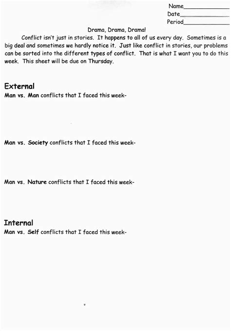 internal and external conflict worksheet the best