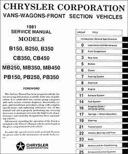 1981 Dodge  U0026 Plymouth Van Repair Shop Manual Original