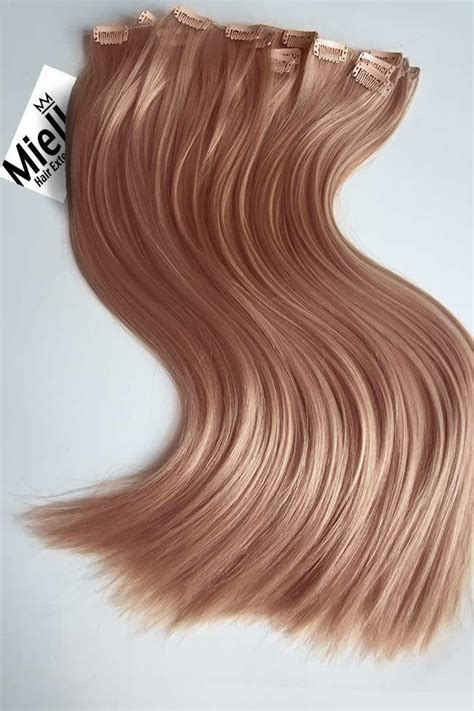 rose gold full head clip  extensions straight remy