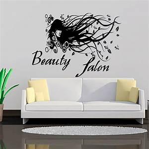Modern beauty salon long hair lady art wall sticker vinyl