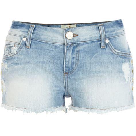 light blue jean shorts river island light wash eyelet embellished denim shorts in