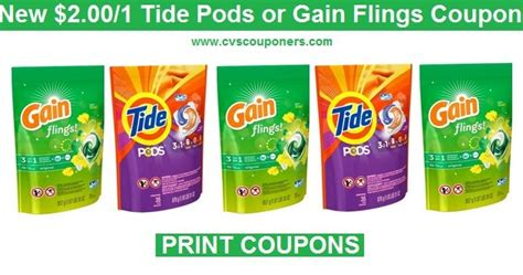cvs couponers just released 2 00 one tide pods or gain flings coupons print now